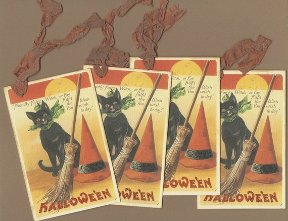 CLEARANCE - Vintage Black Cat Halloween Tags, set of 4 oversized tags
