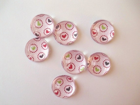 Heart Magnets, Bubble Magnets, Pink Magnets, Set of 7