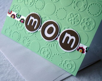 Embossed Mother's Day Card in Mint Green and Chocolate Brown