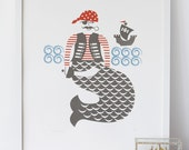 Pirate screenprint in grey, blue and red