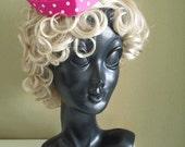 WINTER SALE 2016 - Dotty 1940s Style Sweetheart Hat in Hot Pink