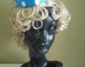 WINTER SALE 2016 - Dotty 1940s Style Sweetheart Hat in Turquoise