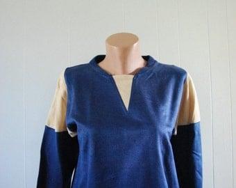 70s 80s Vintage Corduroy V Neck Sweatshirt Navy Blue by Casino