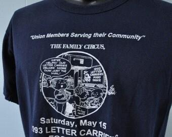 Family Circus Tee 90s Food Drive Comic Strip TShirt LARGE