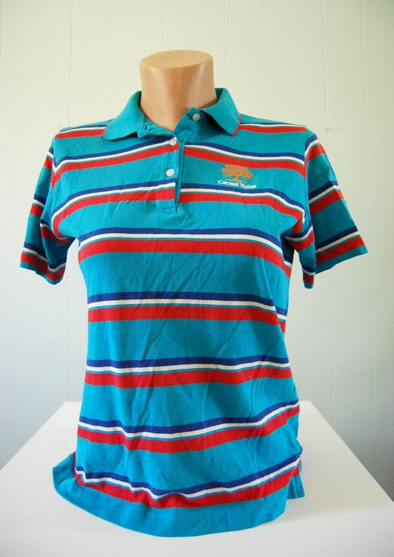 Vintage Izod Polo Shirt Thin and Soft Teal Red MEDIUM SMALL
