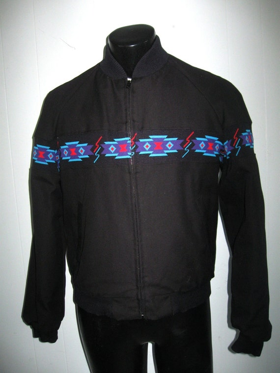 Native American Print Vintage Lined Jacket Black Blue Purple