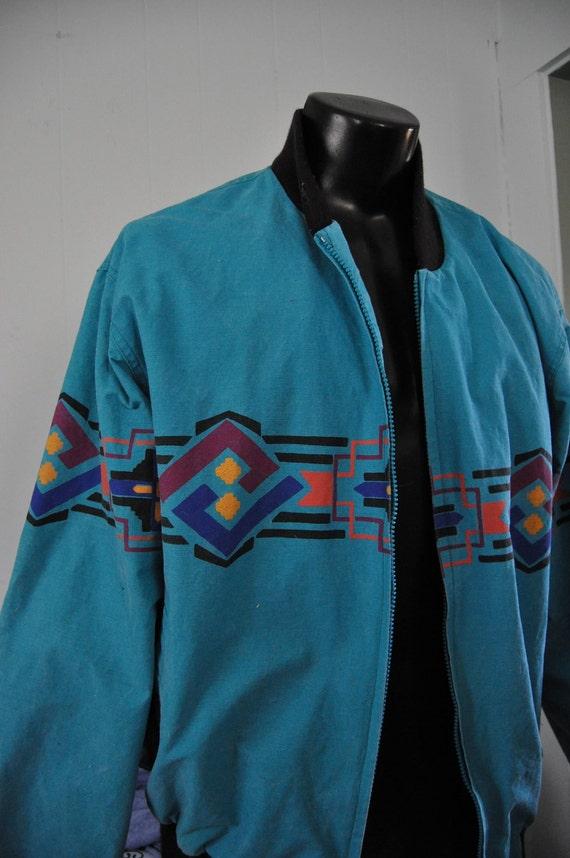 Native American Jacket Vintage By Wrangler Teal Purple Red