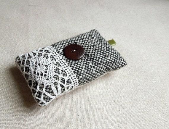 Pretty Black and White Wool Pincushion