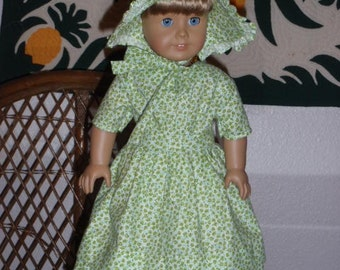 1850s Summer Dress and Sunbonnet for  American Girl Kirsten or other 18 inch doll