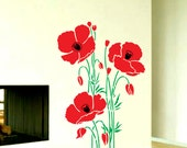 Red and Yellow California Poppies Living Room Interior Wall Home Decor Flower Vinyl Decal Sticker - VINYL2079DECALS