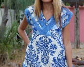 OOAK handmade basketweave hand dyed backless blue and white tunic