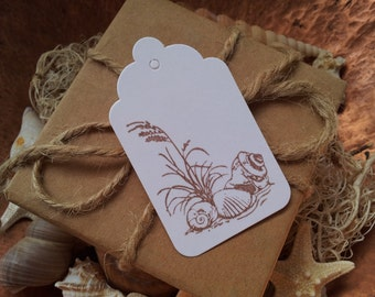 Wedding Tags Sand and Shells Beach Ocean Destination Travel Theme Blank White Tags Set of 50