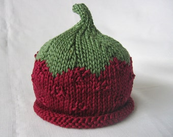 Boston Beanies Raspberry Hat, Knit Red Fruit Cotton Baby Hat, great photo prop