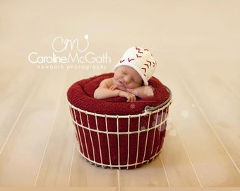 Knit Baseball Hat, Cotton Baby Hat great photo prop