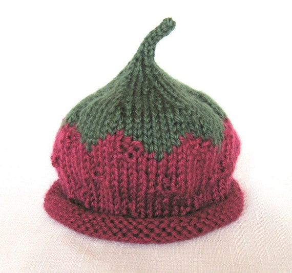 Raspberry Hat, Knit Baby Hat great photo prop