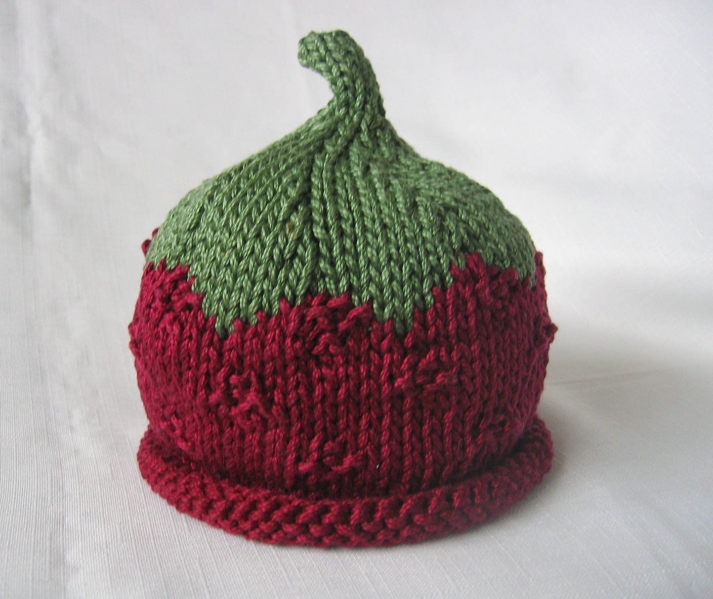 Boston Beanies Raspberry Hat Knit Red Fruit Cotton Baby Hat
