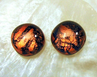 Small Copper Studs, Fused Glass Stud/Post Earrings, Warm Shimmering Copper