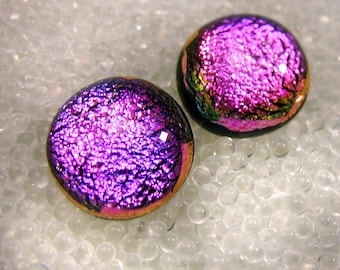 Dichroic Sparkling Magenta Pink Fused Glass Stud Earrings, Small Posts, Pink Studs, Bright Pink Studs