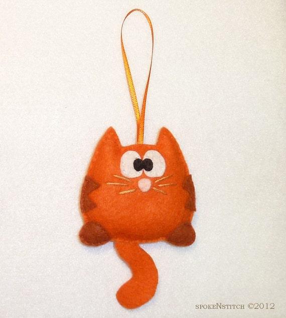 Felt Christmas Ornament - Orange Striped Kitty Snickers