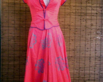 Vintage Hot Pink Tropical Asian Inspired Mandarin Collar piped & Embroidered Blouse and Midi Skirt set S