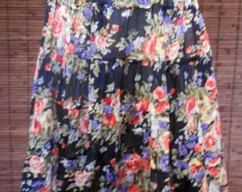 Vintage 90s Sheer Floral Tiered Peasant Midi Skirt M