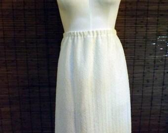 Vintage Cream Eyelit Boucle  Knit Boho Midi Skirt L
