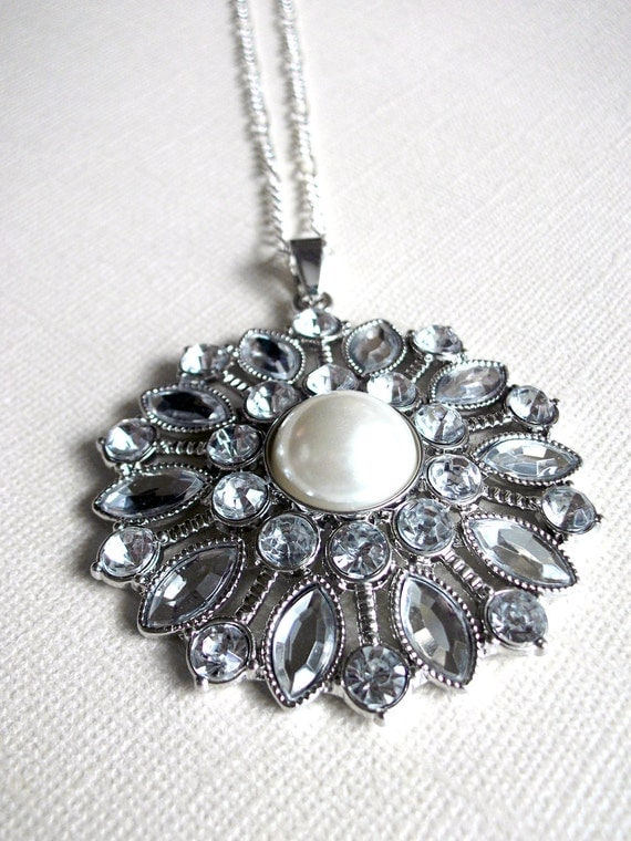 Crystal Pearl Sunburst Necklace