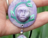 purple polymer clay floral design pendant and earring set, handmade, Native American
