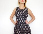 Vintage dress / black floral sleeveless mini / size S-M