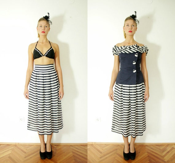 r e s e r v e d for juliaannata Vintage skirt and jacket / sailor stripes navy and white / size XS
