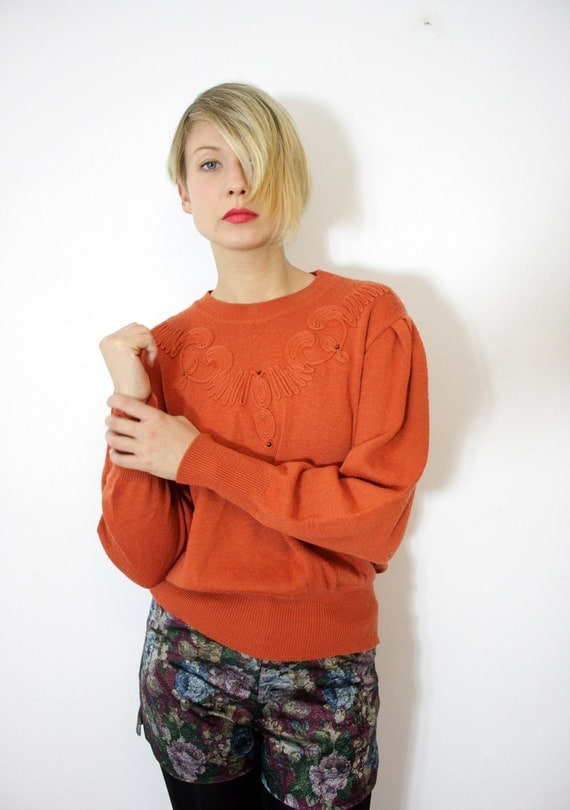 r e s e r v e d for meganaspinall ON SALE Vintage sweater / pumpkin knit puff sleeve trim / size M-L