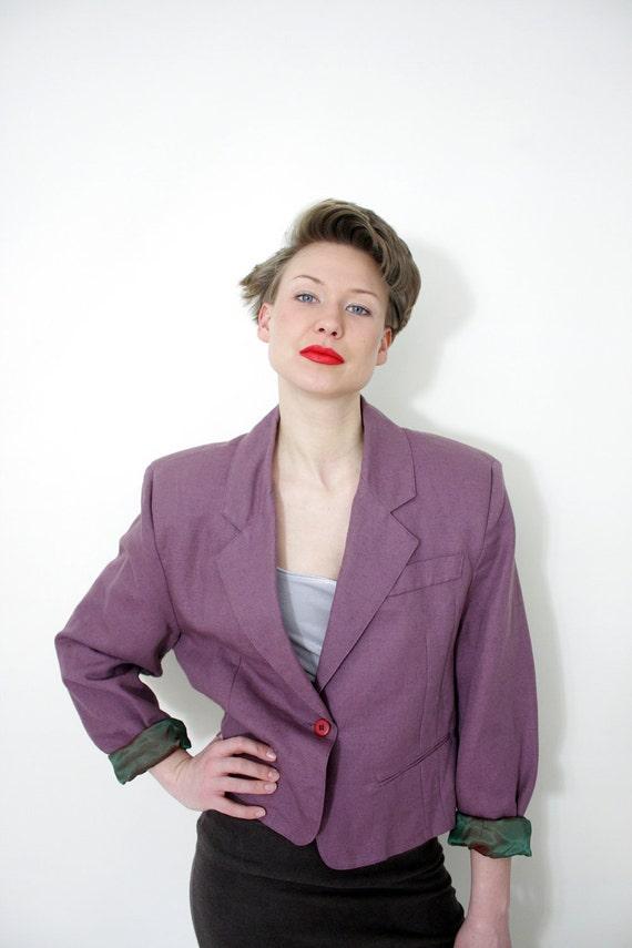 ON SALE Vintage jacket / lavender boyfriend crop blazer / size L
