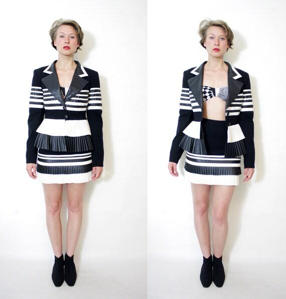 Vintage jacket and skirt set / black and white Romeo pour Juliette  suit / size S-M