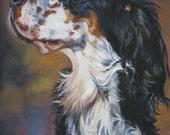 English Setter dog art portrait CANVAS print of LA Shepard painting 8x10