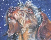 Dachshund art CANVAS print of LA Shepard painting 8x8 dog art