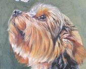 Yorkshire Terrier CANVAS print of LA Shepard dog portrait painting 8x10 yorkie dog art