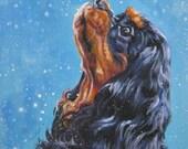 Cavalier King Charles Spaniel CANVAS print of LA Shepard painting 8x10 dog art