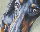 Dachshund art canvas print of dog painting by LA Shepard 11x14 dog portrait