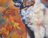 Dog art Leonberger giclee CANVAS print of LA Shepard painting 8x10