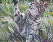 Tabby Cat art print canvas print of LA Shepard painting 12x16