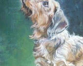 Dachshund art CANVAS print of LA Shepard painting 8x10 Wire haired dog art