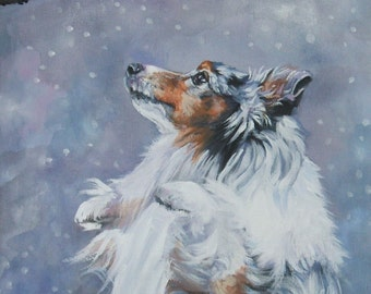 Shetland Sheepdog sheltie dog art CANVAS print of LA Shepard painting 8x10 blue merle