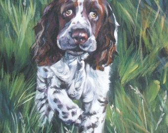 English Springer Spaniel dog art CANVAS print of LA Shepard painting 12x12