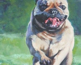 "FRENCH BULLDOG art portrait canvas PRINT of LAShepard painting frenchie dog 8x10"""