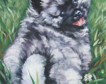 "KEESHOND dog ART canvas PRINT of LAShepard painting 8x10"" puppy art"