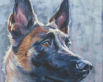 Belgian Malinois art CANVAS print of LA Shepard painting 8x8 dog portrait