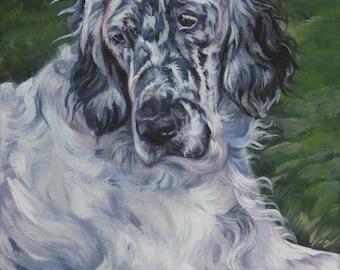 "English Setter DOG PORTRAIT art canvas PRINT of LAShepard painting 8x10"""