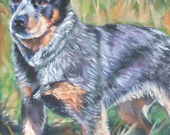Australian Cattle Dog blue heelerdog art CANVAS print of L.A.Shepard painting 12x16