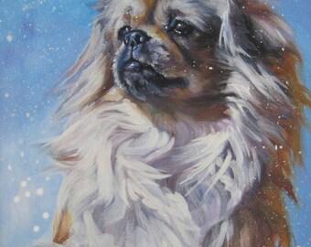 Tibetan Spaniel art CANVAS print of LA Shepard painting 8x10 dog art
