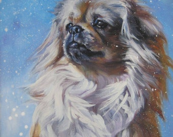 Tibetan Spaniel dog art portrait CANVAS print of LA Shepard painting 12x16